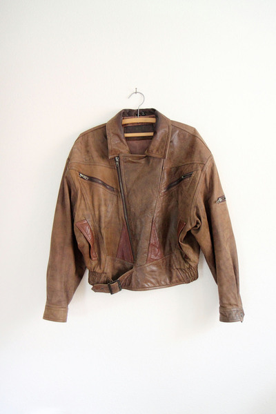 dark brown leather biker sergeant fox vintage jacket
