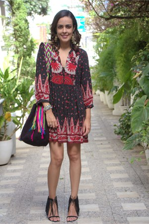 black ethnic print Forever 21 dress - hot pink wayuu Wayuu bag bag