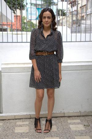brown leather belt - black polka dots Forever 21 dress