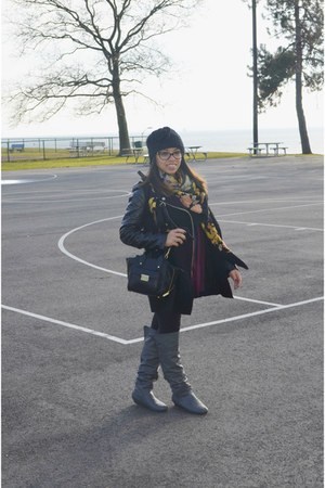 black Sheinsidecom jacket - black moms closet scarf