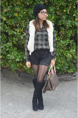 black Local Boutique boots - black papaya shorts - ivory h&m divided vest