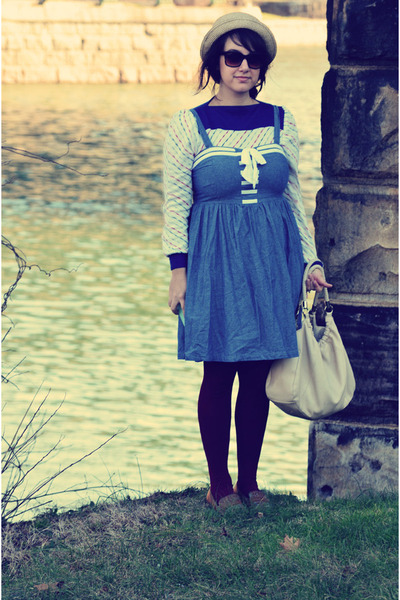 light blue swapped dress - brown thrifted vintage shoes