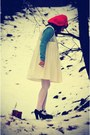 Black-jeffrey-campbell-shoes-ivory-darling-dress-red-handmade-hat