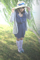 blue Pins & Needles dress - silver Kimchi Blue cardigan - white Urban Outfitters