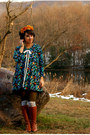 Brown-michael-kors-boots-teal-urban-outfitters-dress-olive-green-hue-tights