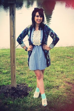 blue modcloth dress - blue Anthropologie cardigan - green Topshop socks - beige