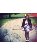 white BB Dakota dress - black Kimchi Blue blazer - white modcloth accessories -
