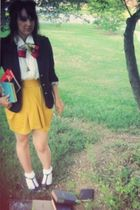 black Forever 21 blazer - gold modcloth skirt - red modcloth scarf - white Urban