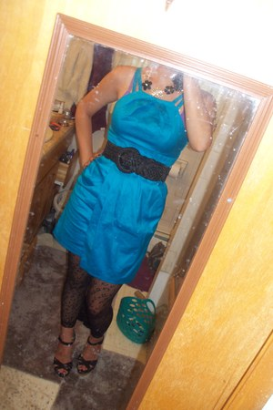 black woven belt Wet Seal belt - blue Ross dress - Claires tights