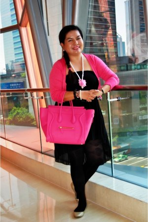 black patterned H&M tights - hot pink microluggage Celine bag