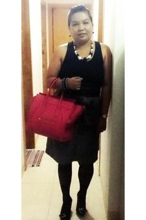 hot pink Celine bag - black used as top Topshop dress