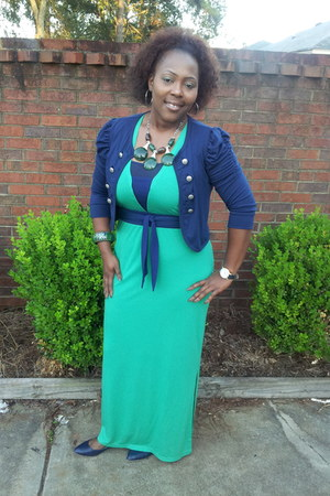 green maxi dress - navy flats