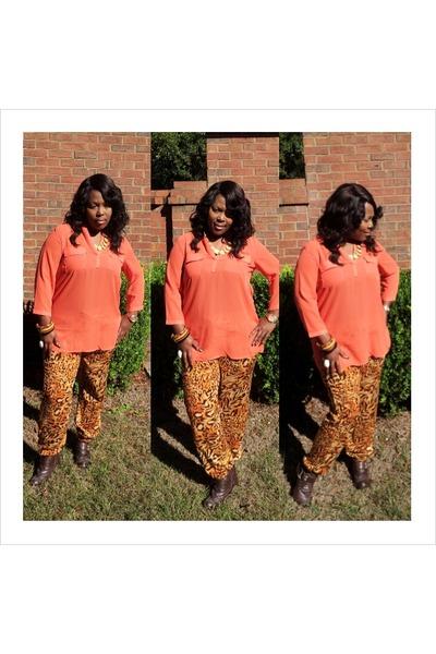 Orange Chiffon Its Fashion Metro Blouses Dark Brown