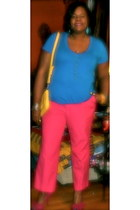 yellow isacc mizrahi purse - fuschia Poetic License heels - pink Tail pants - tu