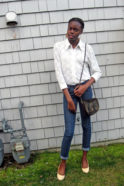 white lace thrifted blouse - blue Max Rave jeans