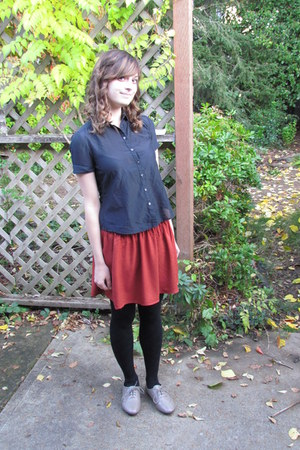burnt orange Forever 21 skirt - gray banana republic blouse