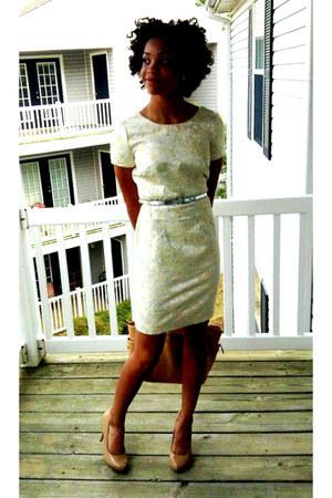 tan michael antonio heels - brocade dress Forever21essentials dress