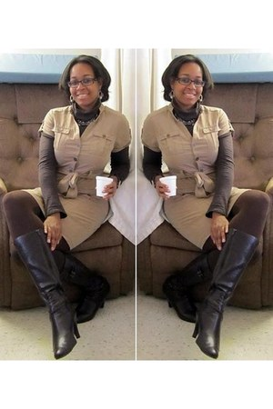 brown turtleneck Target top - dark brown Alfani boots - dark khaki H&M dress