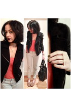 black leather-sleeved Forever 21 blazer - salmon cotton Forever 21 shirt