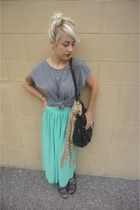 American Apparel skirt - cotton H&M scarf - faux leather deena  ozzy purse