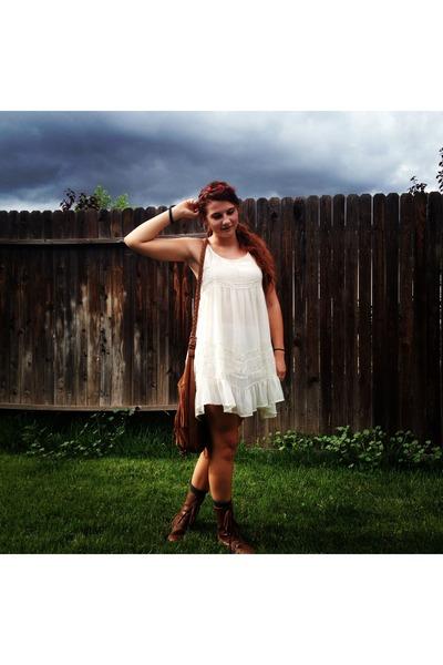 white Billabong dress - brown new look boots - brown Wet Seal bag