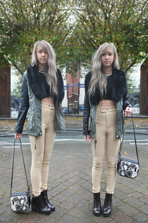 leather arm Topshop jacket - Office boots - Urban Outfitters bag