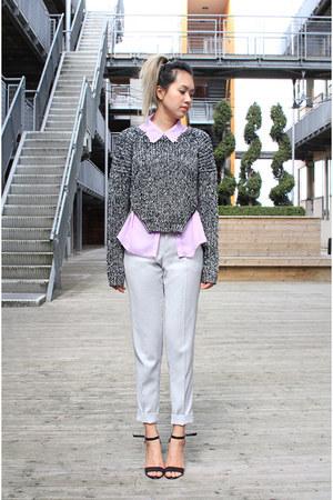 zip sweater H&M sweater - lilac purple Topshop shirt - trousers Zara pants