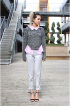 zip sweater H&M sweater - lilac purple Topshop shirt - trousers Zara pants