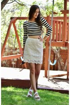 white lace Sugarlips skirt - black striped Chloe K top