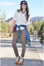 Light-brown-high-waisted-bullhead-denim-co-jeans-navy-patterned-maker-wear-hat