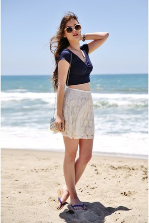 navy crop Charlotte Russe top - ivory lace American Eagle skirt