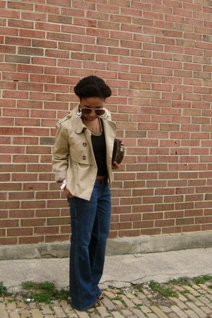 blue Gap jeans - beige trench H&M jacket