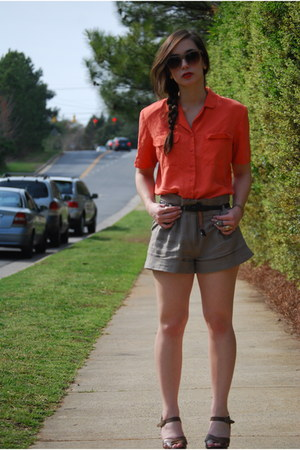 light brown Forever 21 shorts - dark brown Aldo wedges