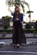 black sheer vintage pants - navy jean jacket vintage jacket