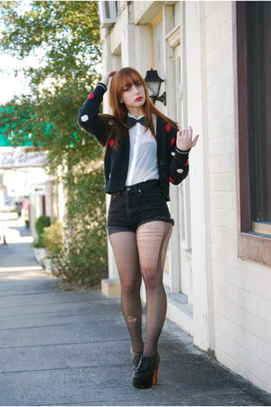 black polka-dot Vintage by Shevahh cardigan - black cut-offs Levis shorts