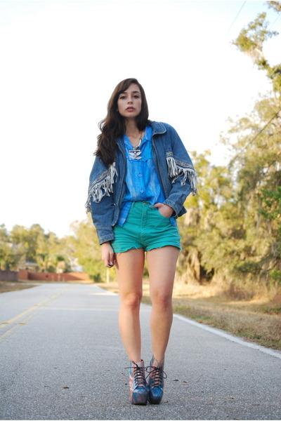 denim vintage Vintage by Shevahh jacket - turquoise blue vintage shorts