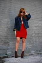 red vintage dress - dark brown litas Jeffrey Campbell boots