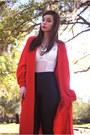 Red-long-cardigan-vintage-cardigan-white-sheer-forever-21-bodysuit