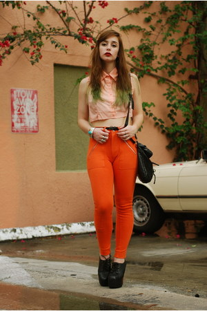 orange high waisted H&amp;M pants - black satchel Forever 21 bag