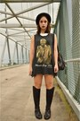 Black-riding-boots-vintage-boots-black-marvin-gaye-thrifted-dress
