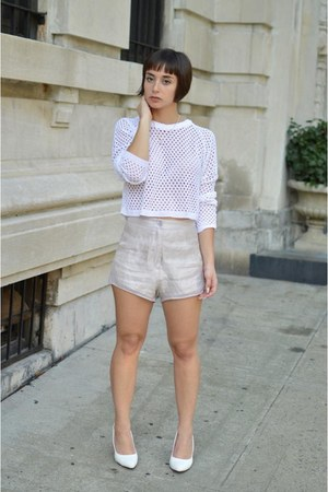 light pink high waisted Nasty Gal shorts - white netted Boohoo sweater