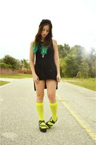 black vintage dress - lime green neon fishnet We Love Colors socks