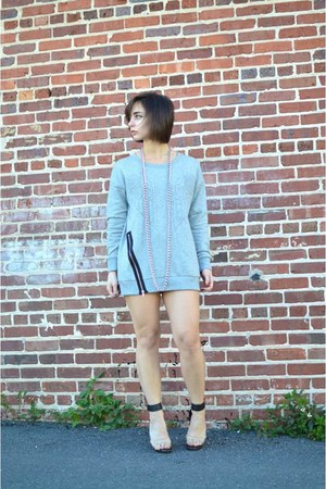 heather gray dress Forever 21 sweater - black clear heels Forever 21 heels