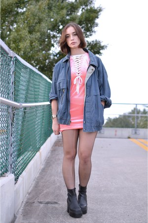 navy vintage jacket - black vintage boots - salmon velvet UNIF dress