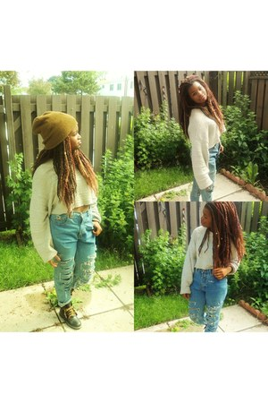 timbaland boots - Ralph Lauren jeans - beanie hat - oatmeal cropped sweater