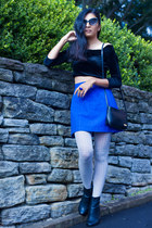 black Jeffrey Campbell boots - black vintage top - blue vintage skirt