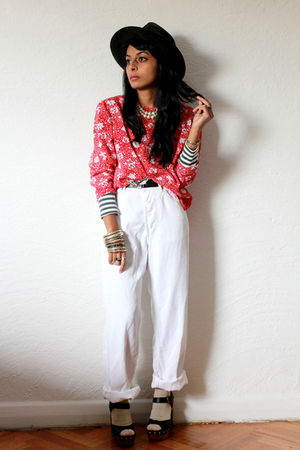 red Red Mera Vintage top - black Jeffrey Campbell shoes - white vintage pants