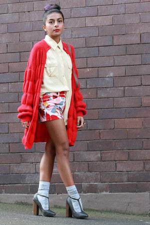 red vintage cardigan - light yellow silk vintage shirt