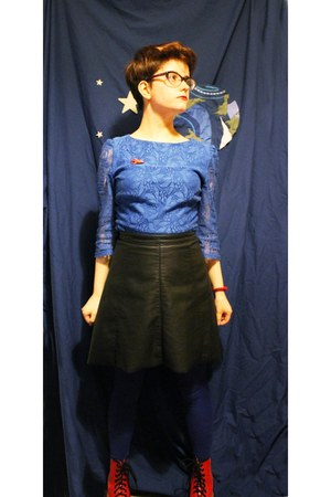 black fake leather River Island skirt - red doc martens boots