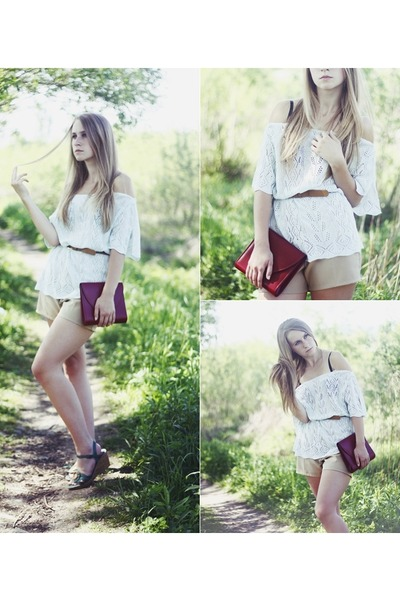 brick red Secondhand bag - tan Secondhand shorts - light blue Secondhand blouse
